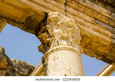 3 May 2018 A stone column among the ruins of a first century Jewish Synagogue in the ancient town of Capernaum in Israel where Jesus lived for some time.
