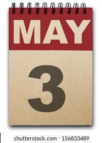 3 May calendar on recycle paper