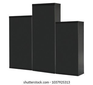 3 metal boxes on a white background