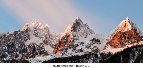3 mountain peak snow in Alps nature panorama - Shutterstock ID 1850945110