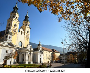 3 November 2017: The Beautiful Cathedral of Santa Maria Assunta and San Cassiano in Bressanone. Brixen / Bressanone is a town in South Tirol in northern Italy. South Tyrol, Bolzano. Italy.