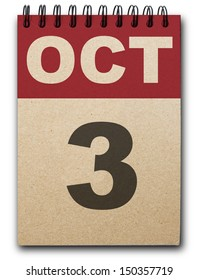 3 October calendar on recycle paper