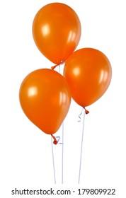 3 orange balloons isolated on white