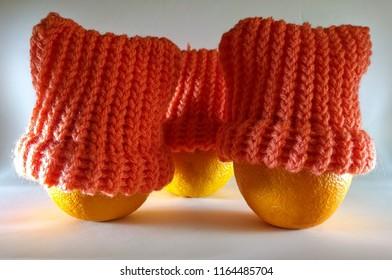 3 oranges with bright orange woollen hats on.