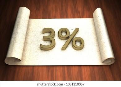 3 per cent, golden numbers, over open paper, 3d rendering