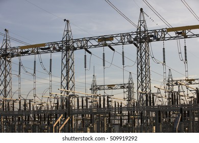 3 phase high voltage electricity towers in industrial estate