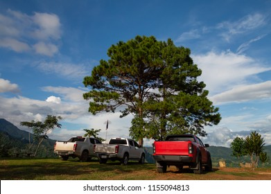 The 3 pickup truck, mobility vehicles parked on the soil ground It's a mountain point of travel attraction in Thailand, with background of mountain range, white clouds and blue sky, Beautiful nature.