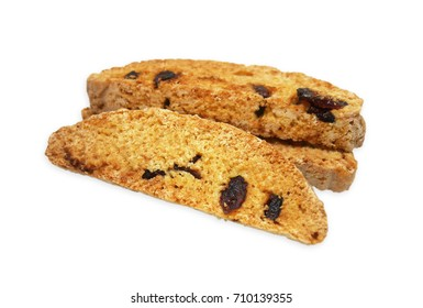 3 pieces of dried cranberry biscotti on white background. Biscotti is a traditional hard and dry Italian style cookie, which is normally eaten after dunk in coffee. Selective focus with clipping path.