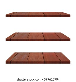 3 Plank Wood Shelves Table isolated on white background