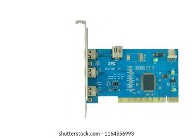 3 Port 1394 PCI express fireWire card isolated on a white background.