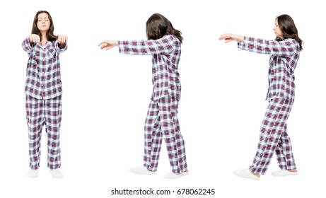 3 portraits in pajamas in a row a woman suffers from sleepwalking