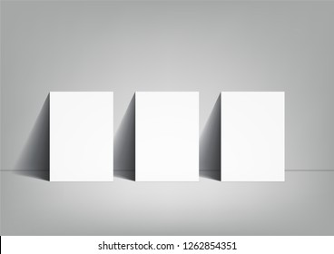 3 poster mockup on grey background, on floor, A3 size