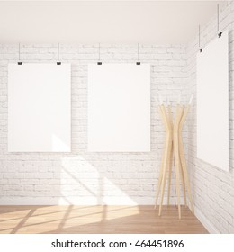 3 Posters Mock Up In Contemporary Interior