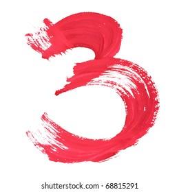 3 - Red handwritten digits over white background