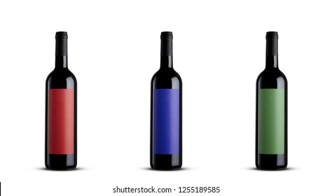 3 RED WINE BOTTLE ON WHITE BACKGROUND ISOLATED WITH COLOR LABEL