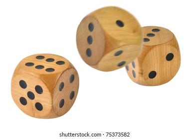 3 Retro wooden dice, 1 dice has just been thrown
