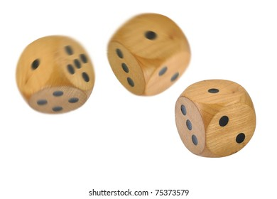 3 Retro wooden dice, 2 dice have just been thrown