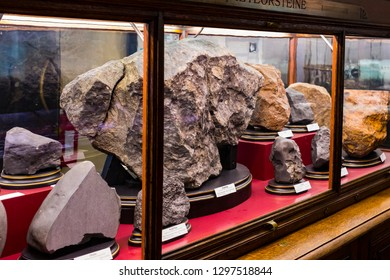 3 SEPTEMBER 2018, VIENNA, AUSTRIA: Collection of meteorites is represented Museum of Natural History, Vienna.