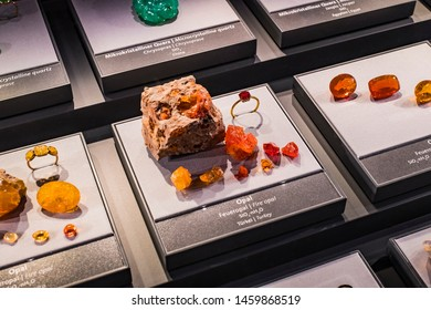 3 SEPTEMBER 2018, VIENNA, AUSTRIA: Exposition of precious and semiprecious stones processed and not processed in the Museum of Natural History, Vienna.