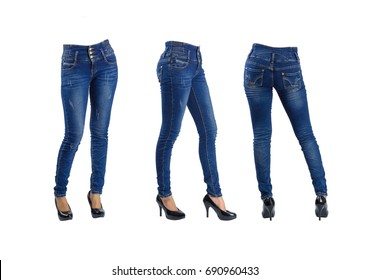 3 shot woman blue jeans isolated section below on white background with clipping path.