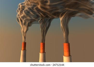 3 smoking chimneys
