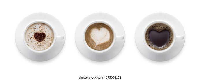 3 styles for coffee lover. heart shape, love symbol on black hot coffee cup, lover sign on Coffee cup of LATTE, Cappuccino, Mocha isolate on white background with clip path.