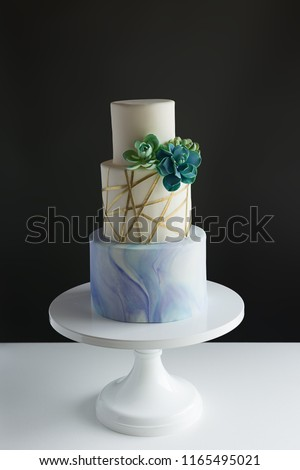 3 Tier Modern Wedding Cake Marble Stock Photo Edit Now 1165495021