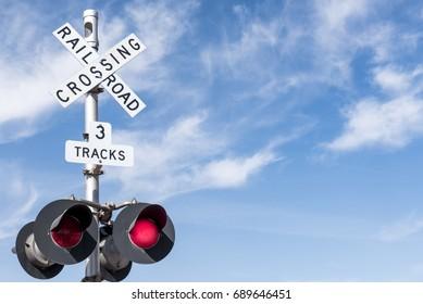 3 Tracks Railroad Crossing Sign