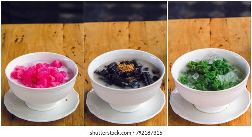 3 Type Thai Dessert (Crispy Water Chestnuts , Thai Pendan Short Vermicelli in Palm Sugar in Coconut Milk  and Glass Jelly in Syrup)