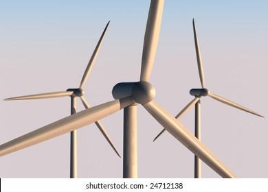 3 wind turbines with DoF