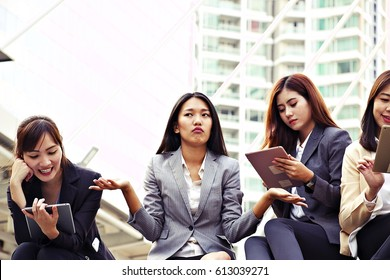 3 Women is ignored by her friends.Phubbing is a term coined as part of a campaign by Macquarie Dictionary to describe the habit of snubbing someone in favour of a mobile phone.