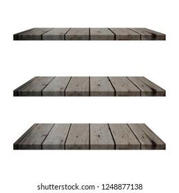 3 Wood Shelves Table isolated on white background