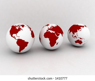 3 worlds or continents