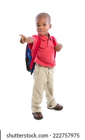 3 year old baby boy standing wear casual outfit carrying backpack pointing finger isolated on white background