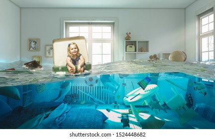 3 year old blond girl sitting inside a vintage suitcase floats on water in her flooded bedroom. Concept of difficulty and carefree.