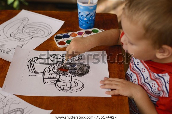 3 Year Old Child Sitting Table Stock Photo Edit Now 735174427