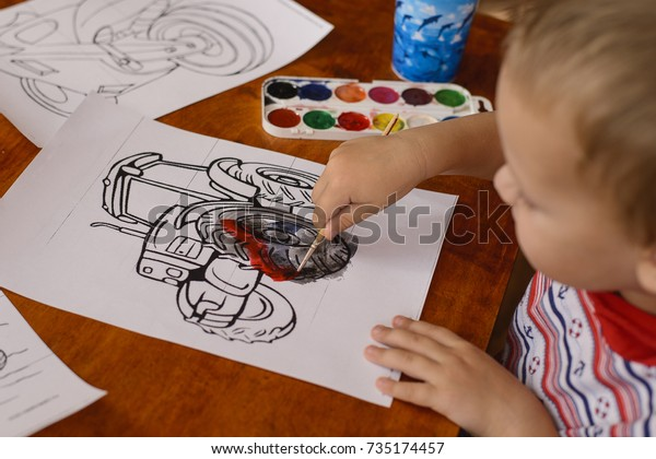 3 Year Old Child Sitting Table Stock Photo Edit Now 735174457
