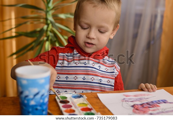 3 Year Old Child Sitting Table Stock Photo Edit Now 735179083