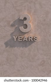 3 years 3d text with shadow and copy space