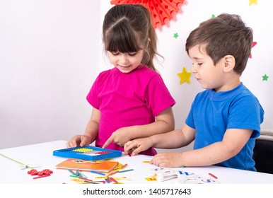 3 years old boy and 5 years girl learning numbers, mental arithmetic, abacus calculation. Back to school