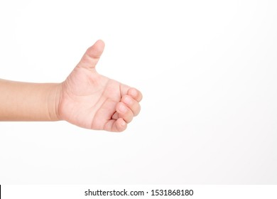 3 years old kid hand holding something like a bottle on white background