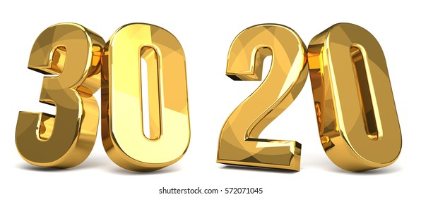 30 and 20 golden 3d render symbol