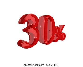 30% 3d rendering text white background