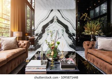 30 April 2018,Bangkok,Thailand. Living room decoration with sun beam at window. home decoration design concept