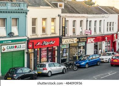 30 August 2016, Hastings, UK, Ore High Street fast food retailers