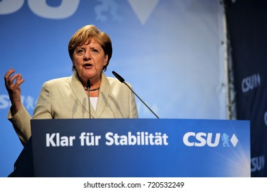 30 August, 2017. Erlangen Germany. Angela Merkel speaks to supporters during a campaign rally organised by the CSU party, Merkel's associate party in Bavaria. The CDU/CSU won with reduced vote share.