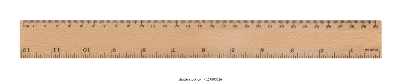 30 cm / 12 inch wood ruler isolated on a white background