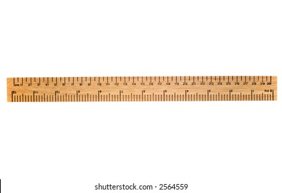 A 30 cm wooden ruler, isolated on a white background.  Flip it over for a 12 inch ruler.