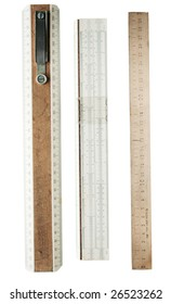 A 30 cm wooden rulers, isolated on a white background