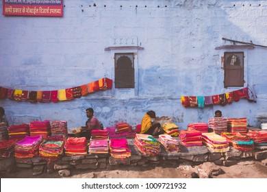 30 DEC 17 : Sardar Market  with Indians people shopping inside the market, Jodhpur, Rajasthan - India